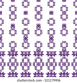 scheme for embroidery. Mosaic seamless pattern. Ethnic ornament. raster copy Image. Green, golden, purple colors. For embroidery pattern. for the textile industry, home crafts