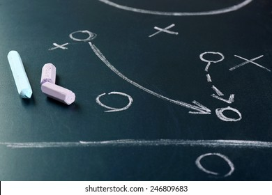 Scheme football game on blackboard background