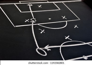 Scheme soccer or football game on blackboard background