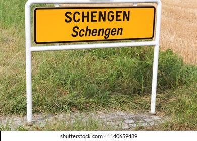 Schengen city road sign in Luxembourg