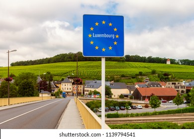 Schengen, Luxemburg - June 19, 2018: Entrance sign to Luxemburg in Schengen. Schengen is best known for The Schengen Agreement, signed in 1985.