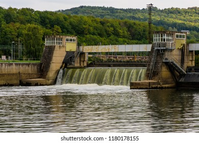 Schengen, Remich, Luxembourg - September 14, 2018: The Moselle River flows through the Schengen Lock at the border tripoint between Luxembourg, Germany and France