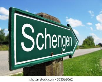 Schengen signpost along a rural road