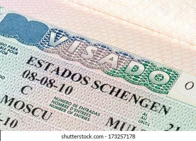 Schengen visa in the passport