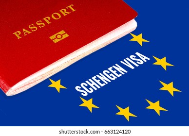 Schengen Visa, White Text Over Eu Flag And Passport