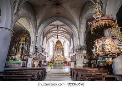 SCHESSLITZ, GERMANY - AUGUST 04 2015: Parish Church St. Kilian in the franconian City of Schesslitz in Bavaria, Germany
