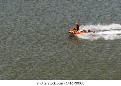 SCHEVENINGEN, 2 June 2019 - Life and coast guards get training and cruising on their jet-skie scooter on the calm North-Sea water