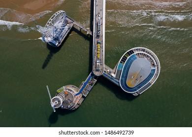 Scheveningen Beach, located near the Hague city aerial drone footage