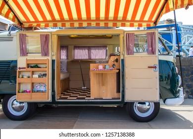 Scheveningen beach, the Netherlands - May 21, 2017: inside VW kombi camper wagen at Aircooled classic car show