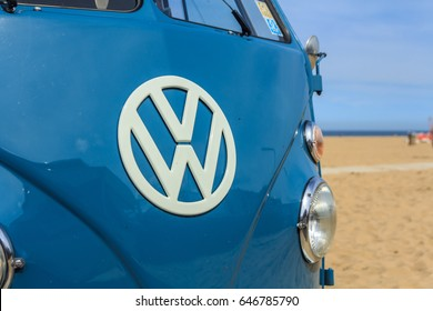 Scheveningen beach, the Netherlands - May 21, 2017: VW kombi camper wagen at th beach