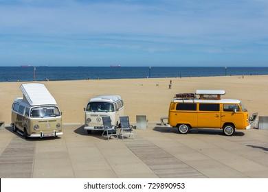 Scheveningen The Hague, the Netherlands - 21 May 2017: VW kombi vans at the beach