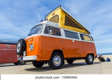 Scheveningen The Hague, the Netherlands - 21 May 2017: VW kombi van at the beach