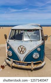 Scheveningen The Hague, the Netherlands - May 21 2017: VW kombi van at the beach