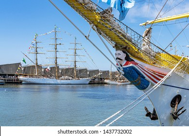Scheveningen / Netherlands - 06-21-2019; The tall ship Mircea with its beautiful figurehead with in the background the ships Cisne Branco and Europa