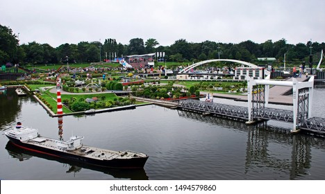 Scheveningen / Netherlands - August 08, 2010: Madurodam Miniature Park In Scheveningen. In Madurodam  park over 300 buildings of the Netherlands were reproduced on a scale of 1:25. Panoramic view.