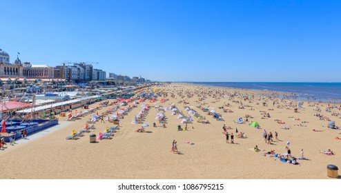 Scheveningen, Netherlands - May 07, 2018: People At The Beach On A Sunny Day At Scheveningen