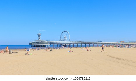 Scheveningen, Netherlands - May 07, 2018: Sunny Day At Scheveningen Beach