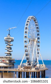 Scheveningen, Netherlands - May 07, 2018: The Ferris Wheel And Bungy Jump at Scheveningen, Netherlands
