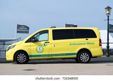 SCHEVENINGEN, NETHERLANDS - September 21, 2017: ambulance van of Stichting Ambulance Wens (Last Wish Foundation) at the boulevard in Scheveningen