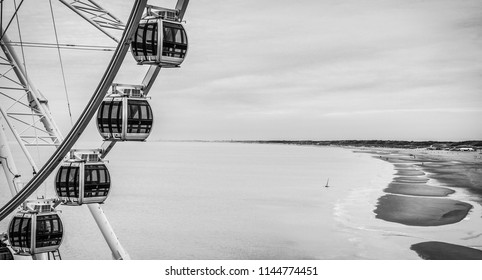Scheveningen pier in The Hague. Black-white photo.