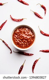 Schezwan Sauce / Szechuan chutney is an important ingredient in Chinese recipe. served in a bowl, isolated.  selective focus
