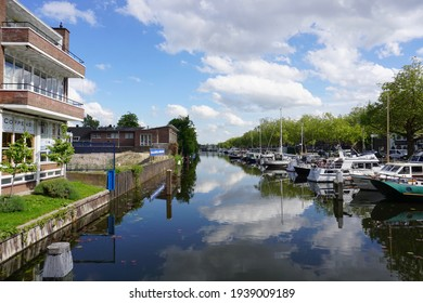 Schiedam, The Netherlands - May 10, 2019;  The WSV de 'Nieuwe Haven' is a beautiful harbor located at the Nieuwe Haven in Schiedam. The port has permanent berths and passers-by berths