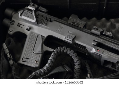 Schiedam, The Netherlands - MAY 13, 2017: Closeup of the Israeli Micro-Roni pistol to carbine conversion kit for Glock pistols.