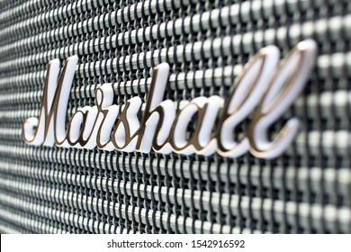 Schiedam, The Netherlands - OCT 27, 2019: closeup of the logo on a retro look Marshall Kilburn bluetooth speaker.