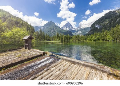 At the Schiederweiher in Hinterstoder with a view at the mountain peaks Spitzmauer and Grosser Priel.The Grosser Priel is the highest mountain of the Toten Gebirge.