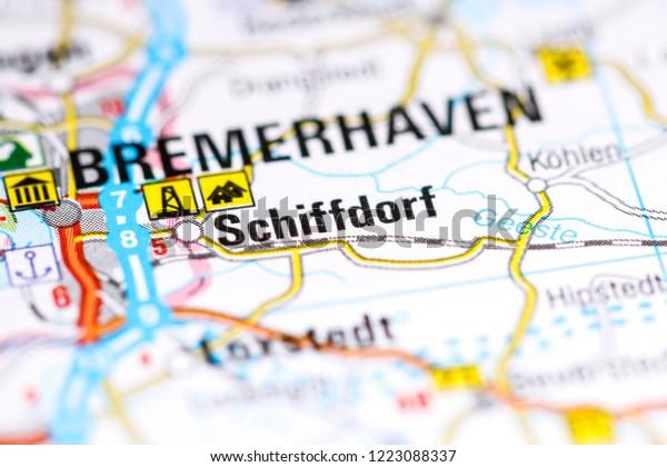 Schiffdorf. Germany on a map