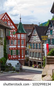 SCHILTACH, GERMANY - JULY 24 2017 The historic market square with the town hall and old half-timbered houses in Schiltach, Black Forest, Baden-Wurttemberg, Germany, Europe