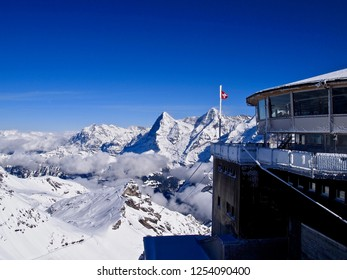 It is the 'Schilthorn' Observatory and 'Eiger' behind .