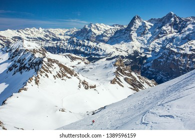 Schilthorn Ski Area is the highest altitude field in the Bernese Oberland of Switzerland. The Swiss Alps Jungfrau-Aletsch World Heritage site including Eiger, Monch and Jungfrau are visible at center.