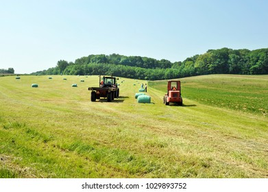 schin op geul, limburg, netherlands, 08 15 2016: view on the gerendal hills, harvesting hay