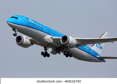 SCHIPHOL, AMSTERDAM, NETHERLANDS - APRIL 1, 2016: Boeing 787-900 PH-BHC of KLM Royal Dutch Airlines taking off at Schiphol international airport.