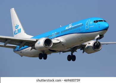SCHIPHOL, AMSTERDAM, NETHERLANDS - APRIL 3, 2016: Boeing 737-8K2 PH-BXZ of KLM Royal Dutch Airlines landing at Schiphol international airport.