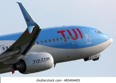 SCHIPHOL, AMSTERDAM, NETHERLANDS - APRIL 4, 2016: Boeing 737-8K5(WL) PH-TFD of TUI Airlines Nederland Arkefly with a new winglet taking off at Schiphol international airport.