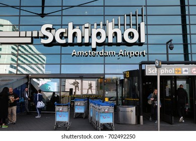 SCHIPHOL, HOLLAND - MAY 17, 2017: Entrance for passengers to the Amsterdam Airport Schiphol