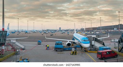 Schiphol , Netherlands - February 13 2013: KLM Cityhopper Embraer Emb-190-100LR (PH-EZG) at Schiphol gate B20.