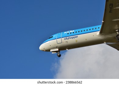 SCHIPHOL, NETHERLANDS - February 16, 2014: KLM or Royal Dutch Airlines in English is the flag carrier airline of the Netherlands.