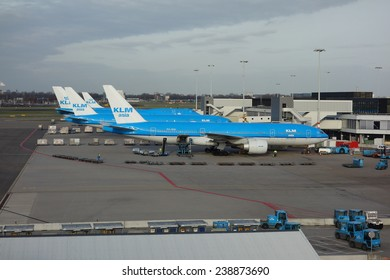 SCHIPHOL, NETHERLANDS - February 24, 2014: KLM or Royal Dutch Airlines in English is the flag carrier airline of the Netherlands.