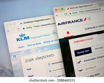 Schiphol, Netherlands - May 11, 2018: Official websites of Air France and Royal Dutch Airlines KLM. Air France–KLM is a Franco-Dutch airline holding company. Both companies are members of the SkyTeam.
