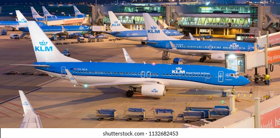 Schiphol, The Netherlands - September 27, 2016: Amsterdam Airport Schiphol (Luchthaven Schiphol). In front a Boeing 737 of KLM (Royal Dutch Airlines/Air France KLM)