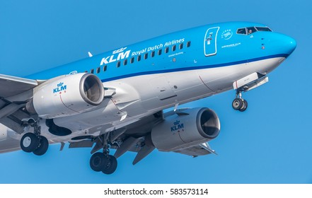 Schiphol, N-H/Netherlands -February 15-02-17- Airplane from KLM Royal Dutch Airlines Boeing 737-7. Aviation is a massive industry involving the transport of passengers daily on airliners.