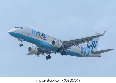 Schiphol, Noord-Holland/Netherlands- December 15-12-2015 -Plane from Flybe G-FBJK Embraer ERJ-175 is preparing for landing at the airport.To land, the airspeed and the rate of descent are reduced.