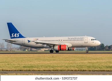 Schiphol, Noord-Holland/Netherlands- December 19-12-2016 -Plane from SAS Scandinavian Airlines is started landed at Schiphol Airport.
