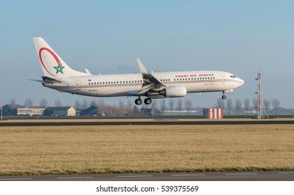 Schiphol, Noord-Holland/Netherlands- December 19-12-2016 Plane from Royal Air Maroc CN-ROS Boeing 737-800 started landed at Schiphol Airport.