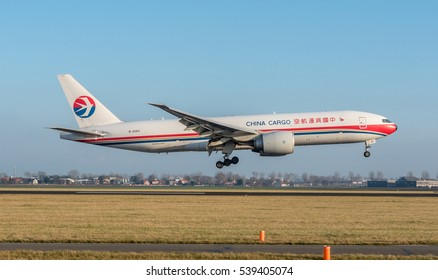 Schiphol, Noord-Holland/Netherlands- December 19-12-2016 Plane China Cargo Airlines B-2083 Boeing 777F is started landing at Schiphol Airport.