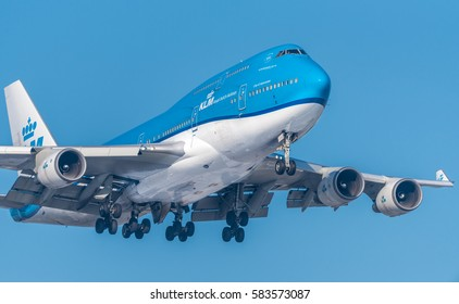 Schiphol, Noord-Holland/Netherlands -February 15-02-17- Airplane from KLM Royal Dutch Airlines PH-BFV Boeing 747-400M. Aviation is a industry involving the transport of passengers daily on airliners