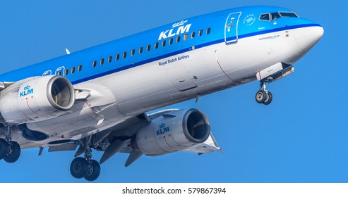 Schiphol, Noord-Holland/Netherlands -February 15-02-2017- Airplane or aeroplane from KLM Robin  Commercial aviation is a massive industry involving the transport of passengers daily on airliners.